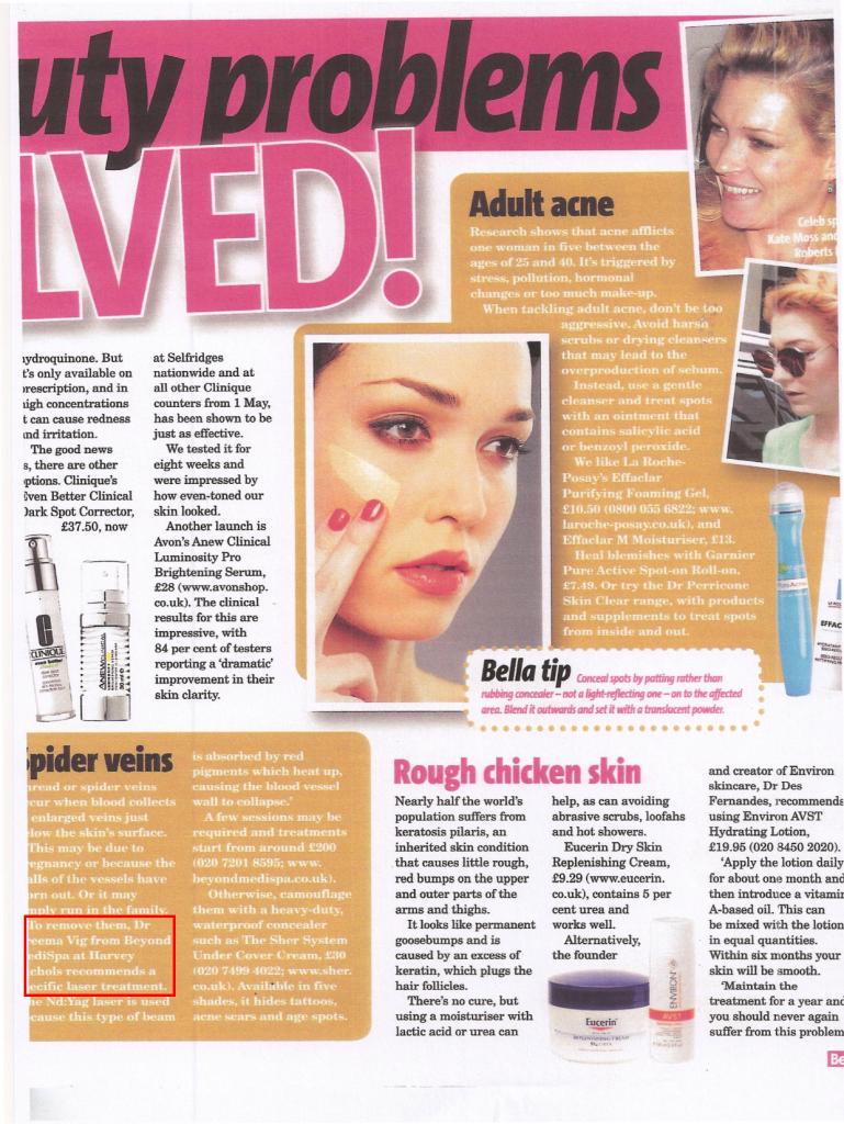 Bella Magazine (April 2010) Beauty Problems Solved! Spider Veins.